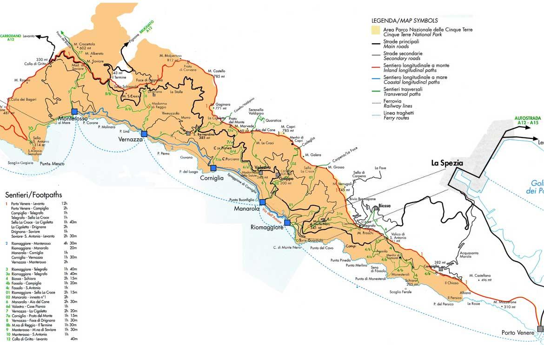 Cartina sentieri Cinque Terre